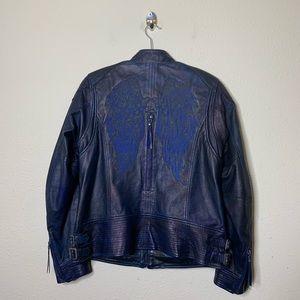 Harley Davidson Blue Leather Wings Moto Jacket